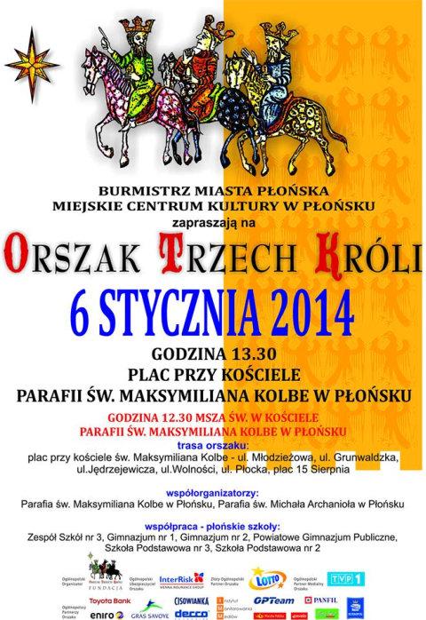 Orszak Trzech Króli Płońsk 2014 Plakat